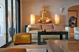 Elegant Zen Living Room With Gold Buddha Statue Decor