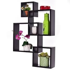 4 intersecting square floating wall mounted shelf wall