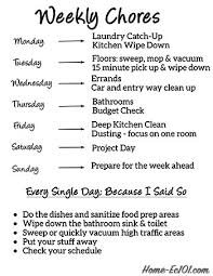 Household Chores Roster Weekly Chore Schedule Home Ec 101