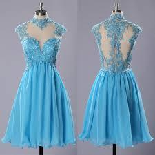 Short Light Blue Grad Dresses High Neck Prom Dresses With Lace Appliques Light Blue Chiffon Prom Dresses Short Tulle Homecoming Dresses 020102183