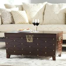 nailhead coffee table antique brass and wood inlay