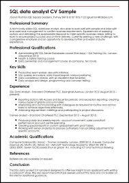 Student Cv Template For First Job Sql Data Analyst Cv Sample Myperfectcv