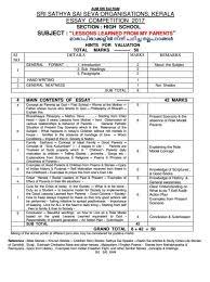 statae level essay competation sri sathya sai seva organisation  jai sairam