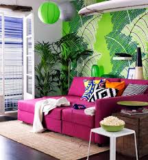 Pink Living Room Furniture Hot Pink Sofa In Front Of A Model Of Green Wallpaper Interior