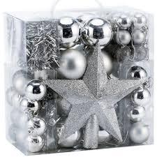 Deuba Weihnachtskugeln Silber 77 Christbaumkugeln Christbaumschmuck Aufhänger Für Den Weihnachtsbaum Weihnachtsbaumschmuck Weihnachtbaumkugeln