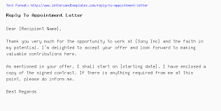 Accept Offer Letter Reply Reply To Appointment Letter