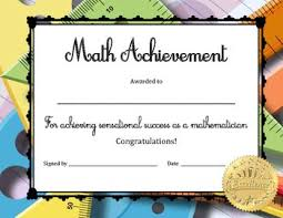 Achievement Awards For Elementary Students Math Achievement Certificate Awards Borders Certificates Name