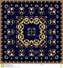 Blue And Gold Design Bandana With Gold Pattern On A Blue Background Illustration