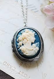 large cameo locket necklace azure blue
