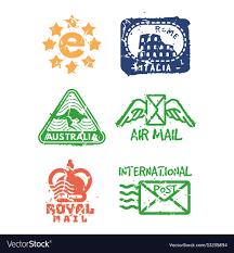 Design Print Mail Australia Set Of Vintage Postage Mail Stamps