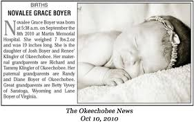 Newspaper Articles Novalee Grace Boyer Birth Announcement