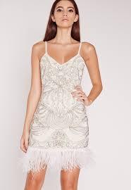 Missguided Premium Strappy Feather Hem Dress White Dresses