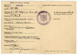 a bitter road britain and the refugee crisis of the s and  a military permit giving finzi permission to leave britain to go to to search for