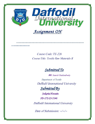 Daffodil International University Assignment Cover Page