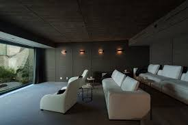 los angeles fabric wall panels home theater contemporary with white couches side tables and end recessed screen