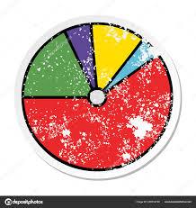 Distressed Sticker Cute Cartoon Pie Chart Stock Vector