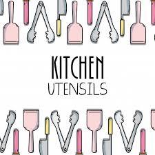 Kitchen utensils background decoration design Vector Premium Download