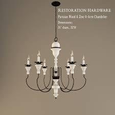 restoration hardware parisian wood and zinc 6 arm chandelier 3d model 3ds 1