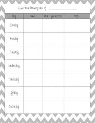 Printable Weekly Dinner Menu 010 Free Meal Planning Templates Word Dinner Template Bw