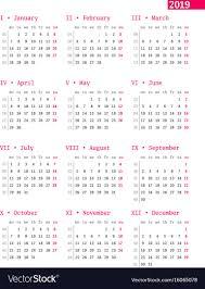 Week Number Calendar Calendar For 2019 Year With Week Numbers On White