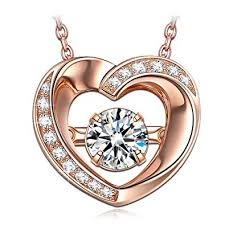 dancing heart necklace gifts women heart necklace 925 sterling silver rose gold pendant an stone cubic