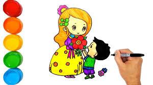 Vẽ tranh Ngày Nhà Giáo Việt Nam - Bé tặng hoa cho cô giáo - Ngày Nhà Giá...