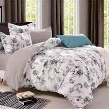 flowers queen bedding set comforter cover double bed linen bedclothes white bed clothes set family king size for us jp uk au fr white and grey bedding