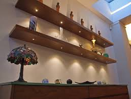 Floating Shelves With Built In Led Lights Walnut Floating Shelves with LED Lights LED Lighting Design 1