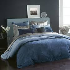 donna karan home ocean collection velvet full queen duvet cover navy blue f823