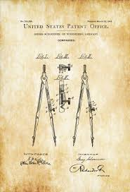 office drawing tools. Drawing Compass Patent - Print, Wall Decor, Office Architect Gift, Tools Y