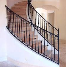 stair railing wrought iron interior rails with newel posts baluster collars  twisted pi home de