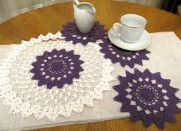 crochet purple doily set of 4 pcs small table round coffee mats il full