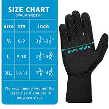 Dive Glove Size Chart Zipoute Neoprene Diving Gloves 3mm Five Finger Wetsuit