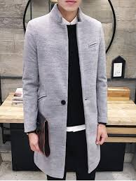best elegant stand collar pockets design pure color coat for men light gray 2xl