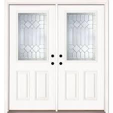painted double front door. Feather River Doors 66 In. X 81.625 Mission Pointe Zinc 1/2 Lite Unfinished Smooth Left-Hand Fiberglass Double Prehung Front Door-882170-400 - The Home Painted Door C