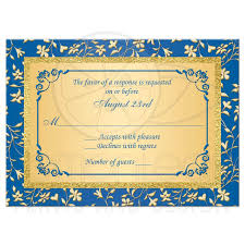 Wedding Rsvp Card With Meal Choices Royal Blue Faux Gold Foil Floral