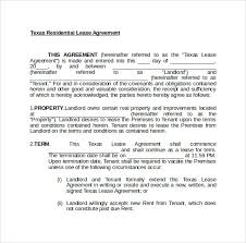 8 Texas Lease Agreement Templates – Samples, Examples & Format ...
