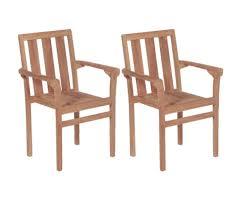 vidaxl 2x solid teak wood stacking