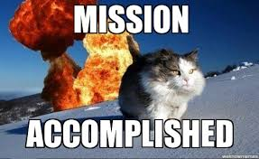 Mission accomplished cat - WeKnowMemes Generator via Relatably.com