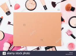 Design Makeup Products Makeup Background Of Beauty Products And Tools On Table Top