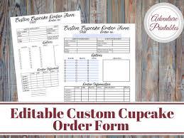 Cupcake Order Form Gorgeous Custom Cupcake Order Form Bakery Forms Cupcake Order Form Etsy