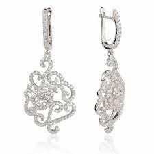 ingenious silver chandelier earrings with flower design