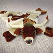 68in longhorn plush faux animal skin rug
