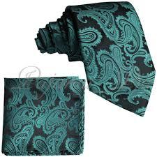 Brand Q New Men's Mermaid Green Paisley Design Self Tie Necktie And  Handkerchief Set