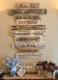 Take this piece for example: Kitchen Rules Sign Rustic Country Farmhouse Wood Wall Decor Rustic Kitchen Decor Kitchen Rules Sign Wood Wall Decor