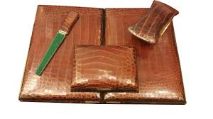 art moderne furniture. hermesparis crocodile skin 4 piece desk set french art deco moderne furniture c
