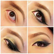 these are some ways of applying gold eye makeup hope you will try this gold eye makeup in your home