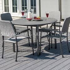alexander rose portofino round table garden furniture set with woven chairs