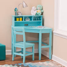 classic playtime juvenile corner desk and reversible hutch with chair teal hayneedle