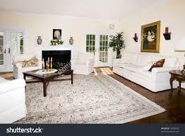 Persian Rug Living Room Luxurious Living Room With Fireplace Oriental Rug On Wood Floor